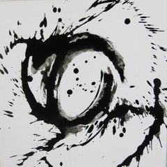 'Space I', Black and White Abstract minimalist Japanese painting