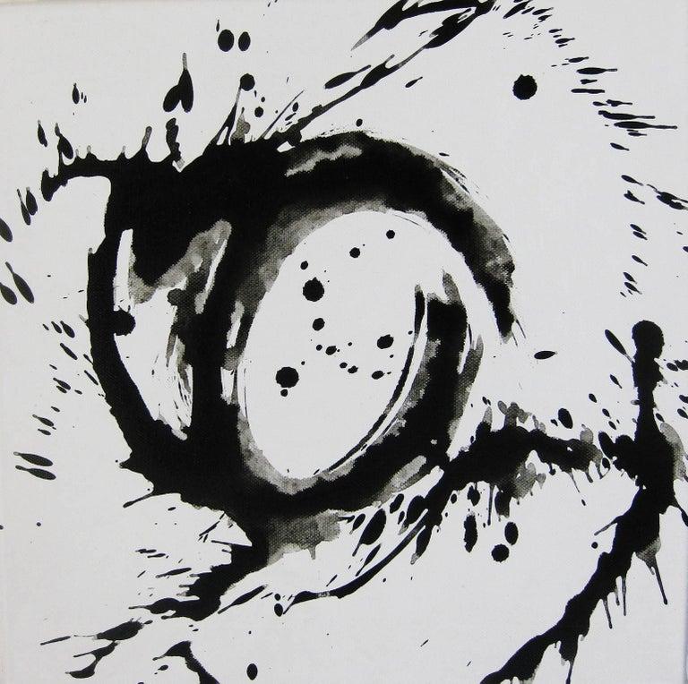 Kiyoshi Otsuka Abstract Painting - 'Space I', Black and White Abstract minimalist Japanese painting