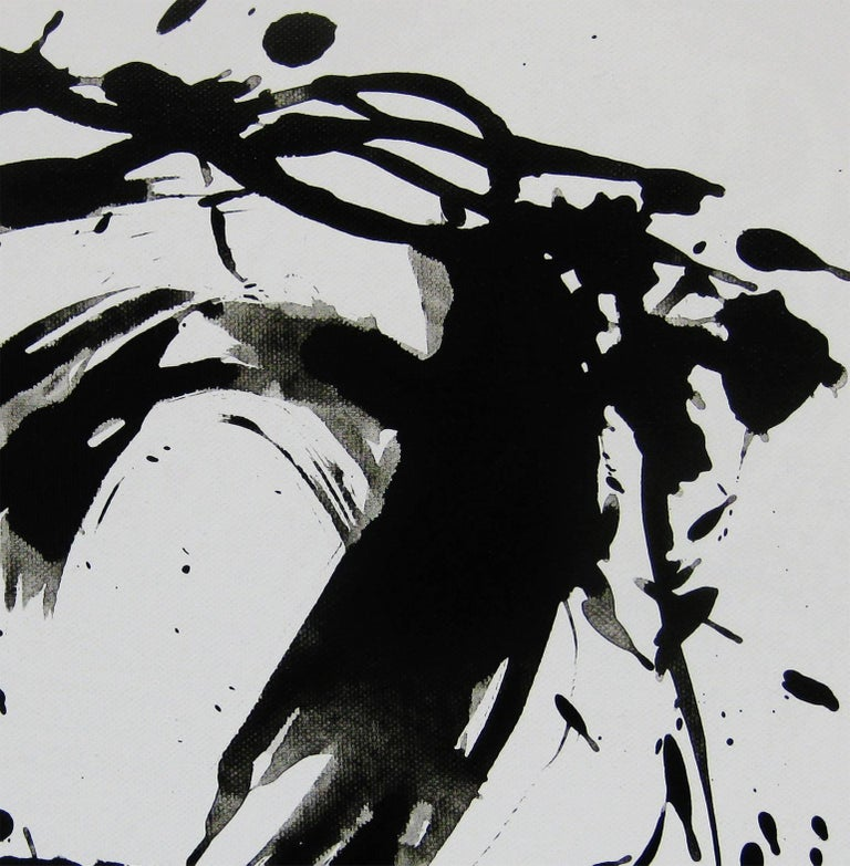 'Space II', Black and White Abstract minimalist Japanese painting - Painting by Kiyoshi Otsuka