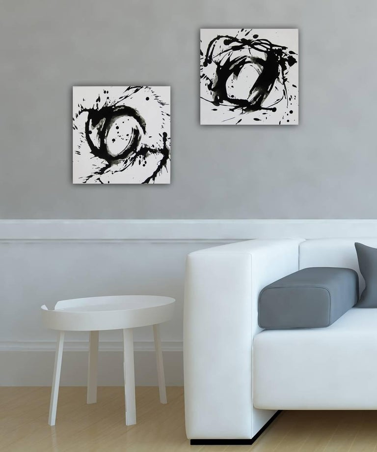 'Space II', Black and White Abstract minimalist Japanese painting - Gray Abstract Painting by Kiyoshi Otsuka