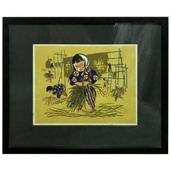 Kiyoshi Saito Early Signed Japanese Woodblock Print Children Rice Harvest
