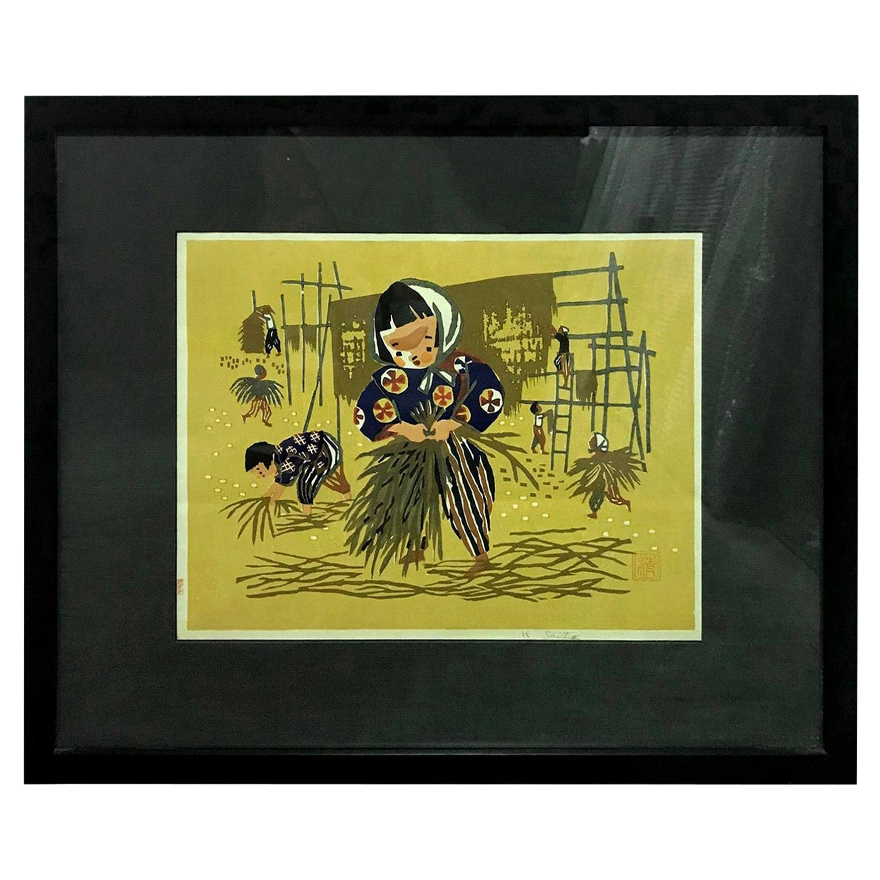 Kiyoshi Saito Early Signed Japanese Woodblock Print Children Rice Harvest
