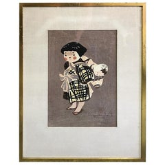 Kiyoshi Saito Japanese Woodblock Child in Aizu 'Child Carrying a Baby on Back'