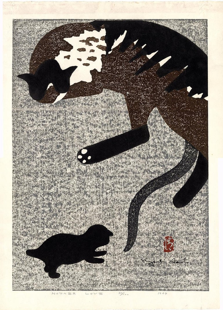 A mother cat dozes while her kitten plays nearby, seemingly about to pounce on his mother's tail. Saito was a true master of the woodblock print medium, employing richly textured backgrounds and patterns and semi-abstracted stylized forms that