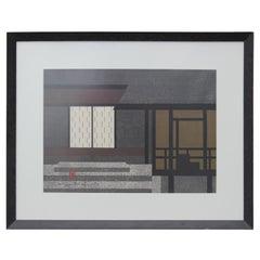"""Katsura Kyoto"" Japanese Linear Architectural Wood Block Print"