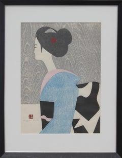 """""""Maiko Kyoto"""" Japanese Figurative Woodblock Print"""