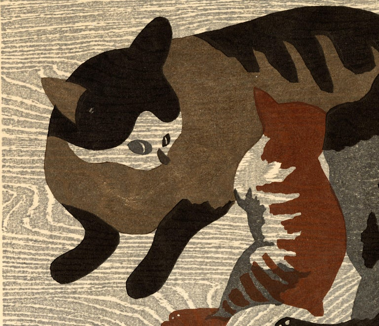Striped Mother Cat and Kittens - Print by Kiyoshi Saitō
