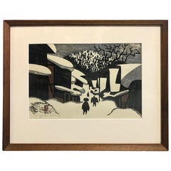 Kiyoshi Saito Signed and Stamped Japanese Woodblock Print Winter in Aizu