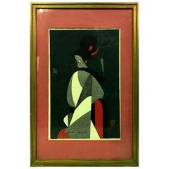 Kiyoshi Saito Signed Japanese Woodblock Print Awaji Doll, circa 1960