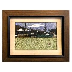 Kiyoshi Saito Signed Japanese Woodblock Print of Village Landscape Aizu, 1960s