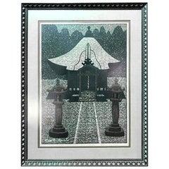 Kiyoshi Saitō Signed Limited Edition Japanese Woodblock Print of Temple, 1965