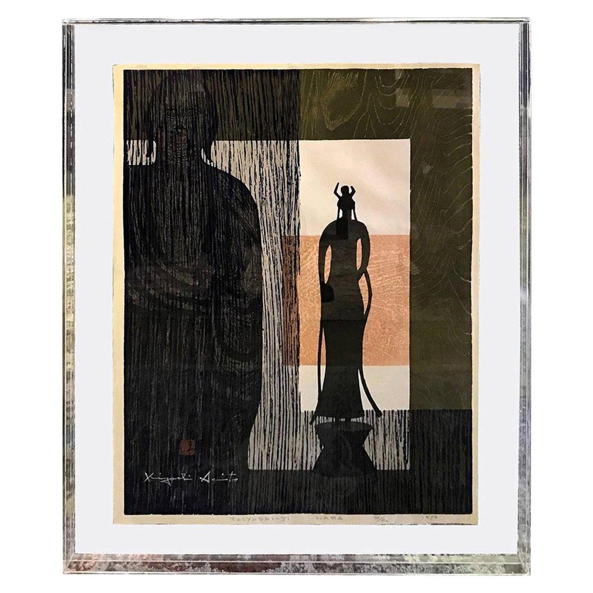 Kiyoshi Saito Signed Limited Edition Japanese Woodblock Print Tosyodai-Ji Nara