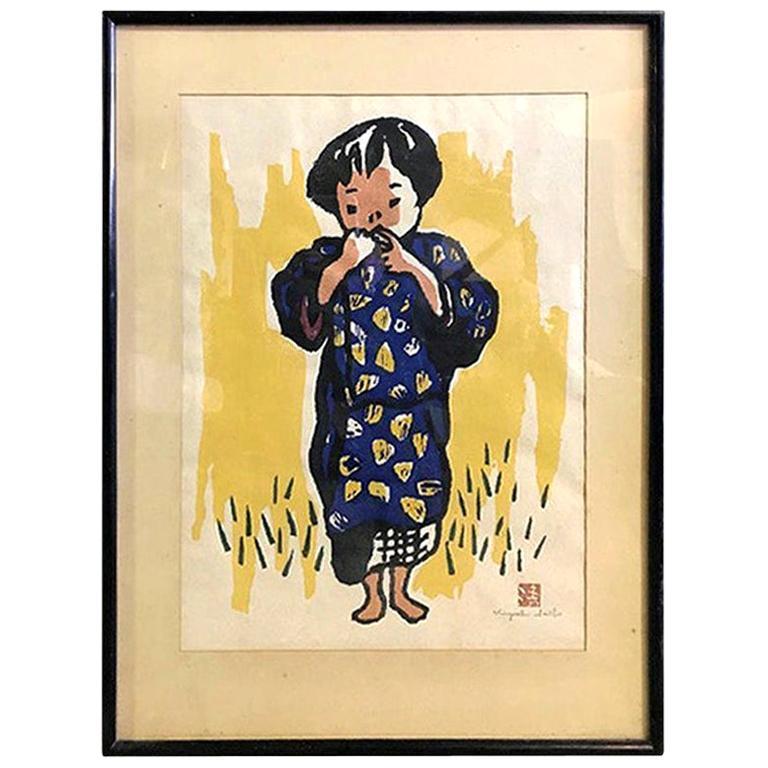 Kiyoshi Saito Signed Sealed Early Japanese Woodblock Print of Village Girl