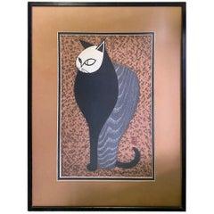 Kiyoshi Saito Signed Stamped Japanese Woodblock Print of Pensive Cat, 1960