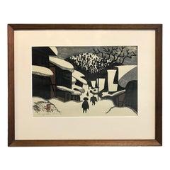 Kiyoshi Saito Signed and Stamped Japanese Woodblock Print Winter in Aizu c1960