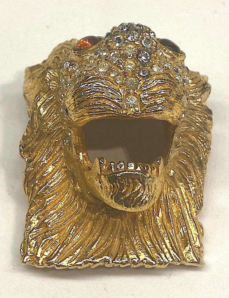 K.J. L. Kenneth Jay Lane Early Lion Head Brooch For Sale 1