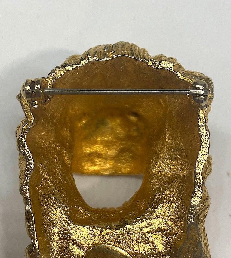 K.J. L. Kenneth Jay Lane Early Lion Head Brooch For Sale 4
