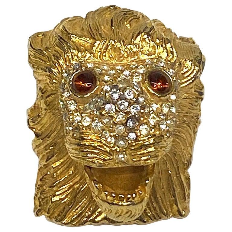 K.J. L. Kenneth Jay Lane Early Lion Head Brooch For Sale