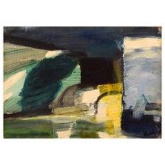 Kjell Högström, Sweden, Oil on Board, Modernist Landscape, Dated 1967