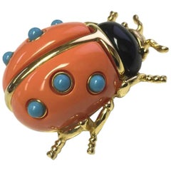 KJL Faux Coral and Turquoise Kenneth Jay Lane Ladybug Runway Brooch Pin