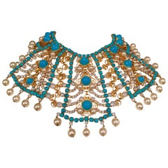 KJL Kenneth J Lane Impressive Bib Necklace Turquoise Moonstone and Pearl