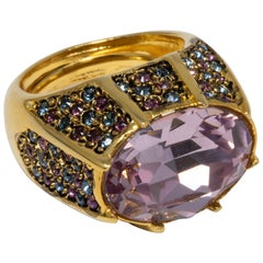 KJL Kenneth Jay Lane Amethyst Crystal Cocktail Statement Ring in Gold