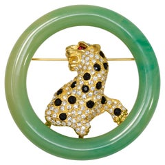 KJL Kenneth Jay Lane Art Deco Faux Jade Jeweled Leopard Cat Pin Brooch, Modern