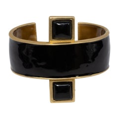 KJL Kenneth Jay Lane Art Deco Geometric Cuff Bracelet, Black Enamel and Gold