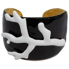 KJL Kenneth Jay Lane Black and White Enamel Faux Coral Branch Cuff Bracelet
