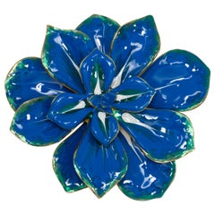 KJL Kenneth Jay Lane Blooming Flower Blue and White Enamel Pin Brooch in Gold