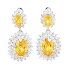 KJL Kenneth Jay Lane Canary Crystal  Double Oval Framed Drop Earrings in Silver
