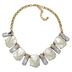KJL Kenneth Jay Lane Clear Crystal and Faux Mother of Pearl Gold Collar Necklace