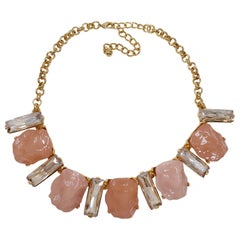 KJL Kenneth Jay Lane Clear Crystal and Pink Rock Gold Collar Necklace