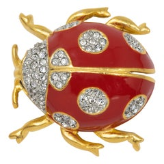 KJL Kenneth Jay Lane Gold Lady Bug Pin, Clear Crystals, Red and Black Enamel