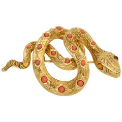 KJL Kenneth Jay Lane Crystal Gold Snake Pin with Coral Cabochons
