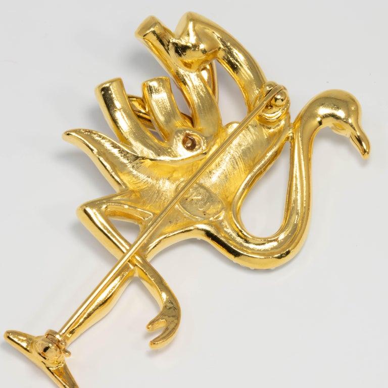 Women's KJL Kenneth Jay Lane Duchess of Windsor Crystal Flamingo Pin Brooch in Gold For Sale