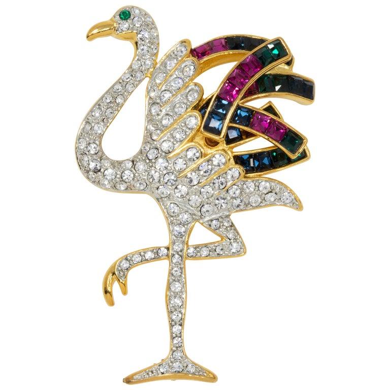 KJL Kenneth Jay Lane Duchess of Windsor Crystal Flamingo Pin Brooch in Gold For Sale