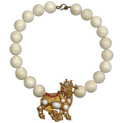 K.J.L. Kenneth Jay Lane Early Bull Centerpiece Necklace
