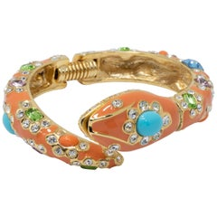 KJL Kenneth Jay Lane Embellished Crystal and Coral Enamel Snake in Cuff Bracelet