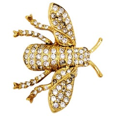 KJL Kenneth Jay Lane Embellished Fly Insect Pave Crystal Pin Brooch in Gold