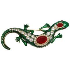 KJL Kenneth Jay Lane Embellished Jeweled Ruby and Green Salamander