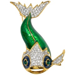 KJL Kenneth Jay Lane Embellished Koi Fish Brooch, Yellow Gold, Crystals & Enamel
