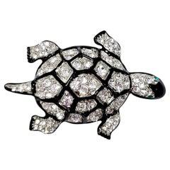 KJL Kenneth Jay Lane Embellished Pave Crystal Turtle Silver Brooch, Black Enamel