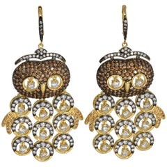 KJL Kenneth Jay Lane Embellished Pave Cubic Zirconia Owl Dangling Earrings