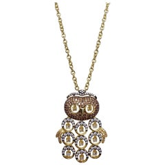 KJL Kenneth Jay Lane Embellished Pave Cubic Zirconia Owl Pendant Necklace