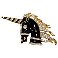 KJL Kenneth Jay Lane Embellished Unicorn Brooch, Black Enamel, Clear Crystals
