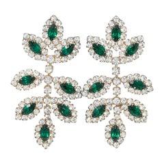 KJL Kenneth Jay Lane Emerald Crystal Leaf Drop Earrings, Mid-Late 1900s, Posts