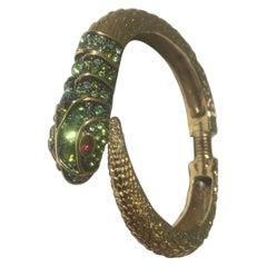 KJL Kenneth Jay Lane Faux Emerald Gemstone Enamel Snake Cuff Bracelet