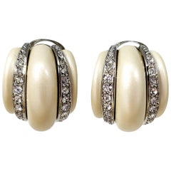 KJL Kenneth Jay Lane Faux Pearl Crystal Embellished Clip on Earrings in Silver