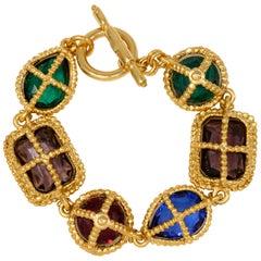 KJL Kenneth Jay Lane Gold Big Jewel Link Retro Toggle Clasp Bracelet